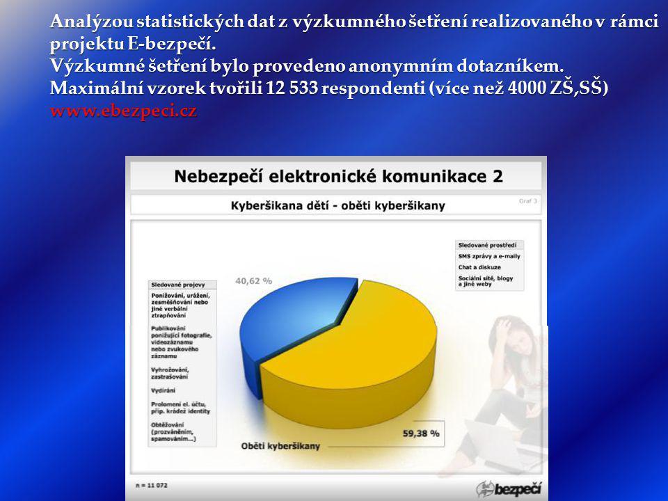 Analýzou statistických dat z výzkumného šetření realizovaného v rámci projektu E-bezpečí.
