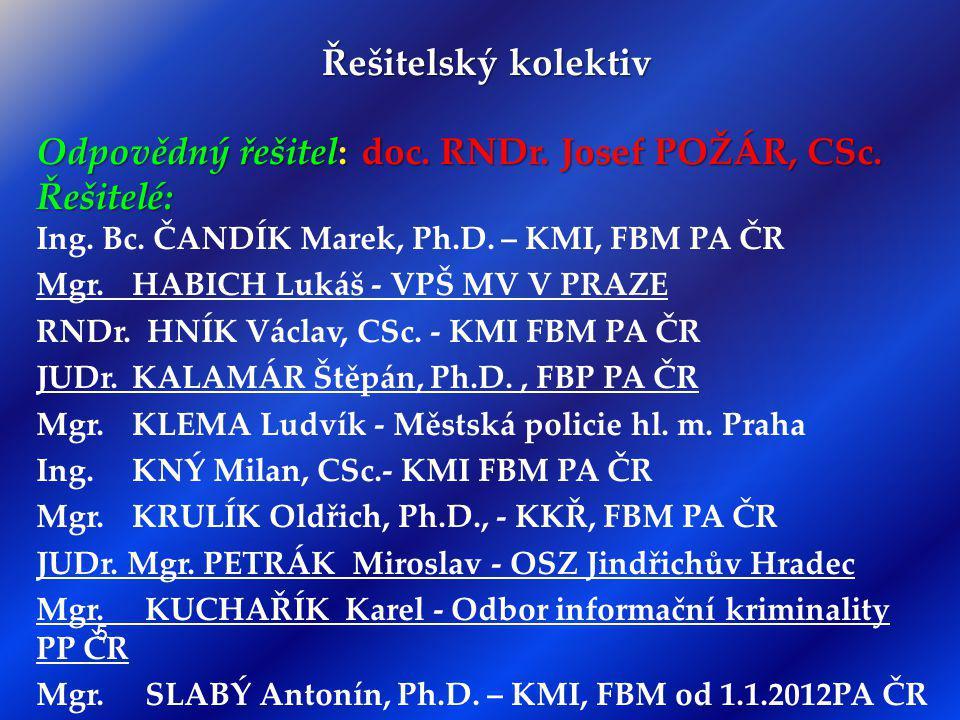 Odpovědný řešitel: doc. RNDr. Josef POŽÁR, CSc. Řešitelé: