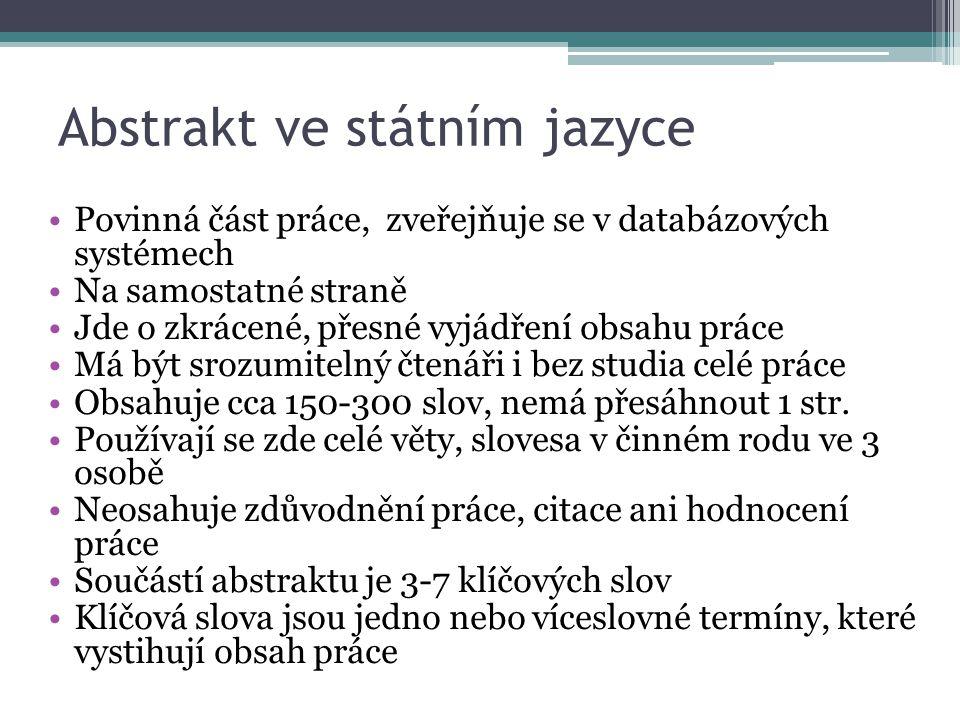Abstrakt ve státním jazyce