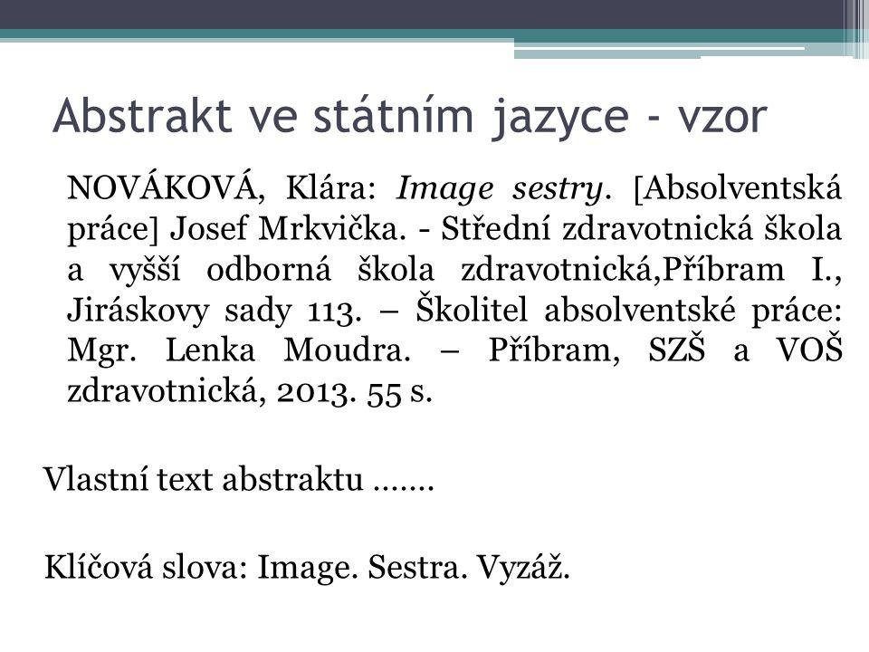 Abstrakt ve státním jazyce - vzor