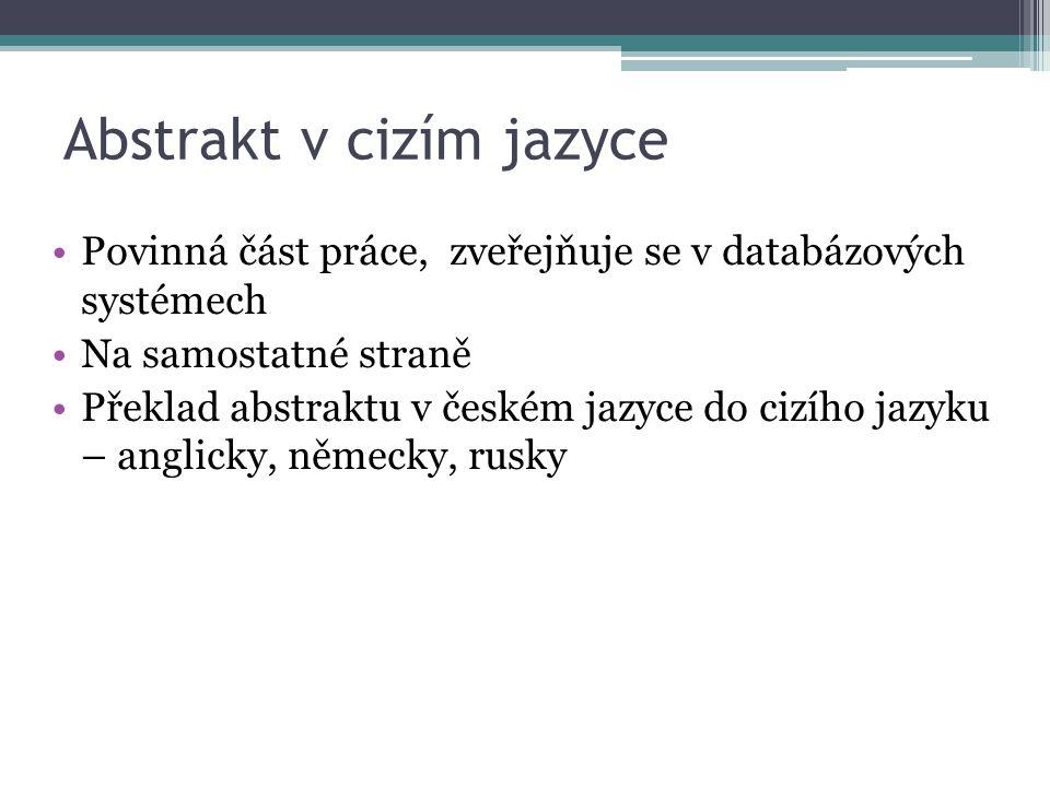 Abstrakt v cizím jazyce