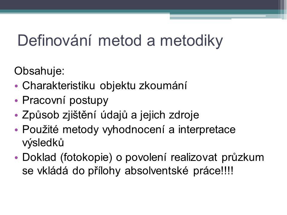 Definování metod a metodiky