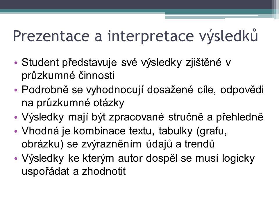Prezentace a interpretace výsledků