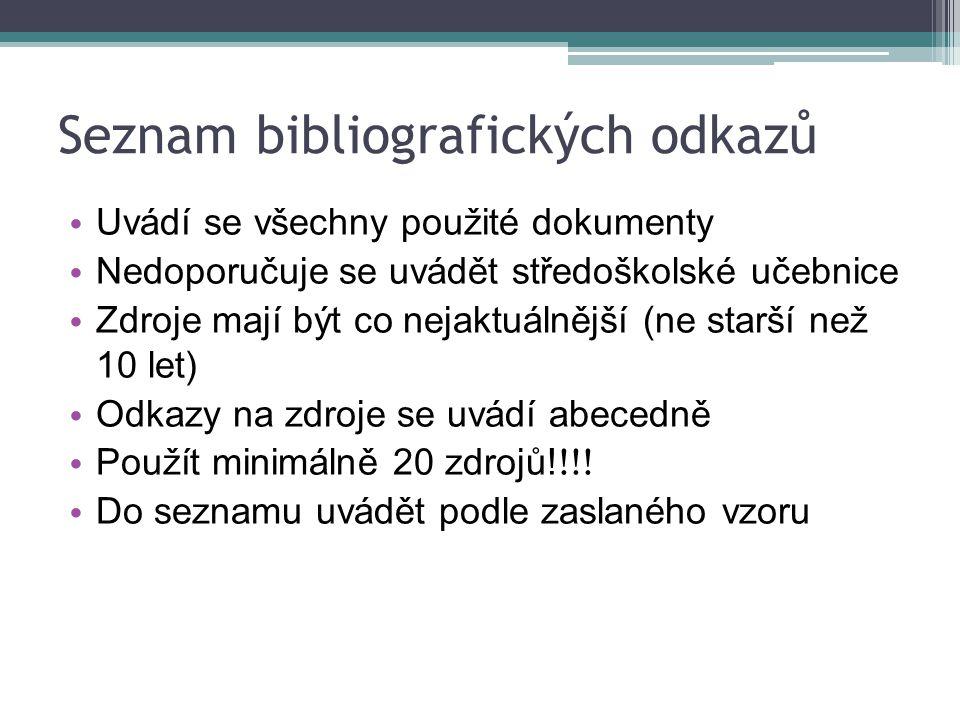 Seznam bibliografických odkazů