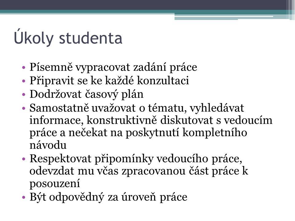 Úkoly studenta Písemně vypracovat zadání práce