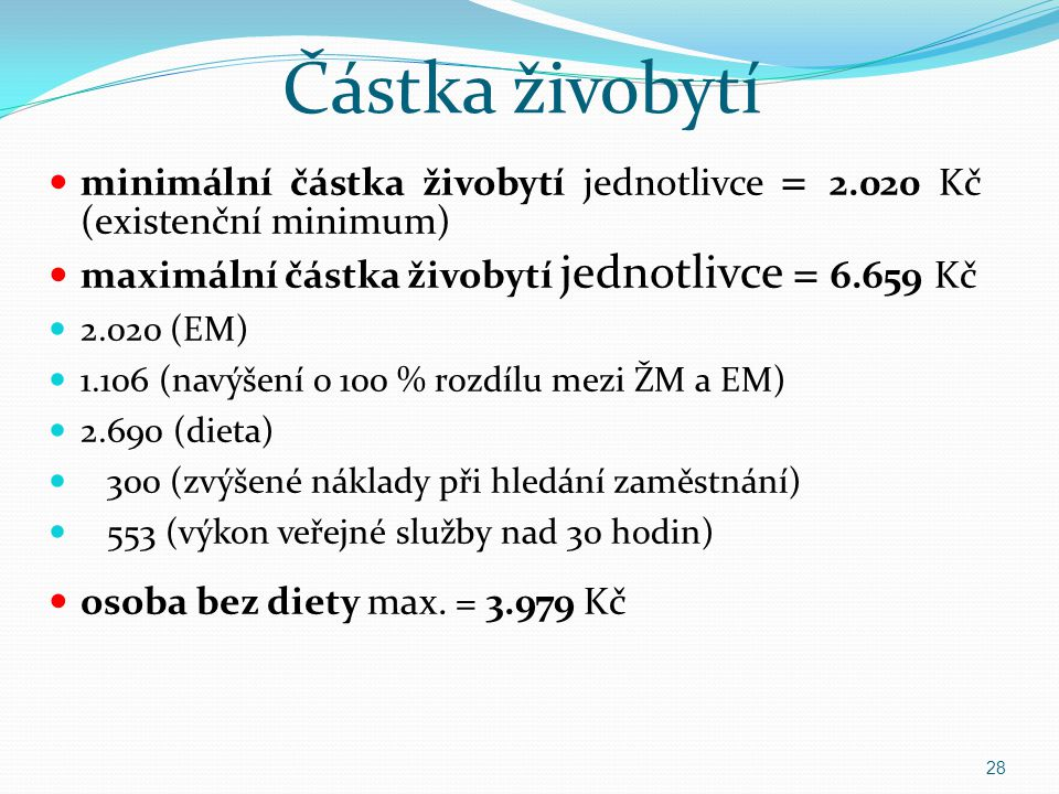 Částka živobytí minimální částka živobytí jednotlivce = 2.020 Kč (existenční minimum) maximální částka živobytí jednotlivce = 6.659 Kč.