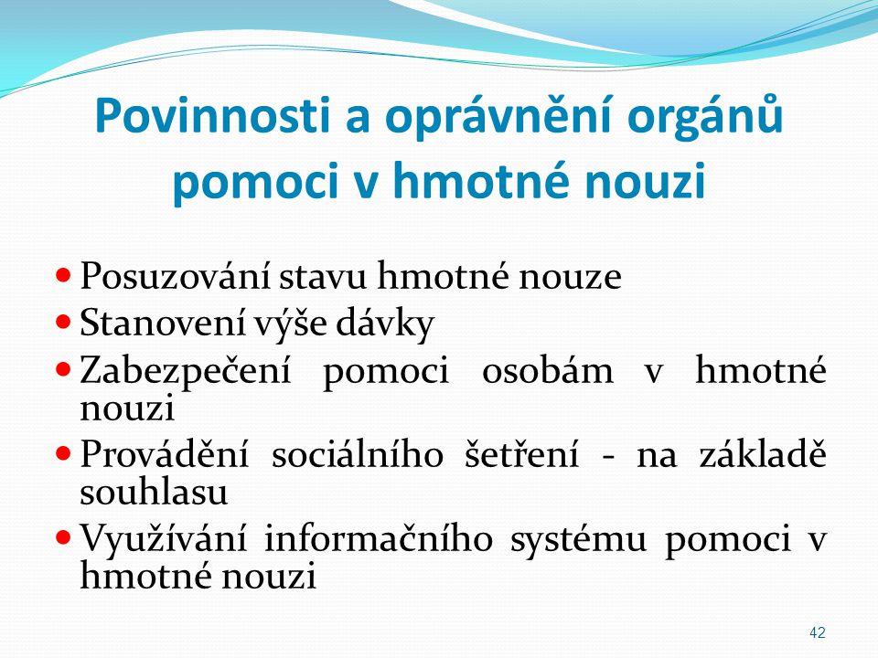 Povinnosti a oprávnění orgánů pomoci v hmotné nouzi