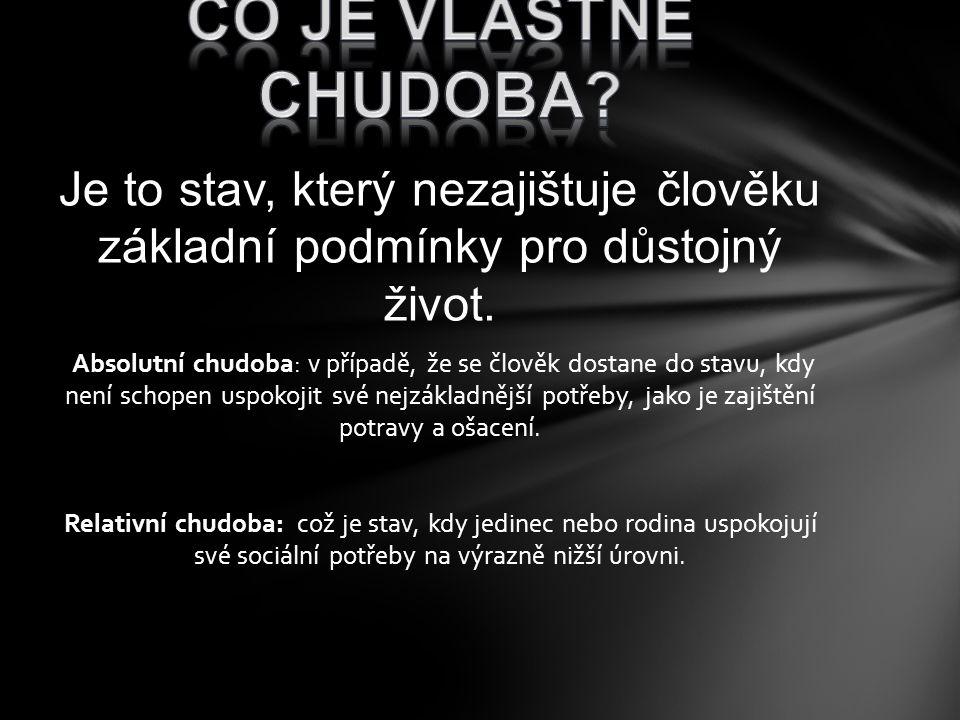 CO JE vlastně CHUDOBa Je to stav, který nezajištuje člověku základní podmínky pro důstojný život.