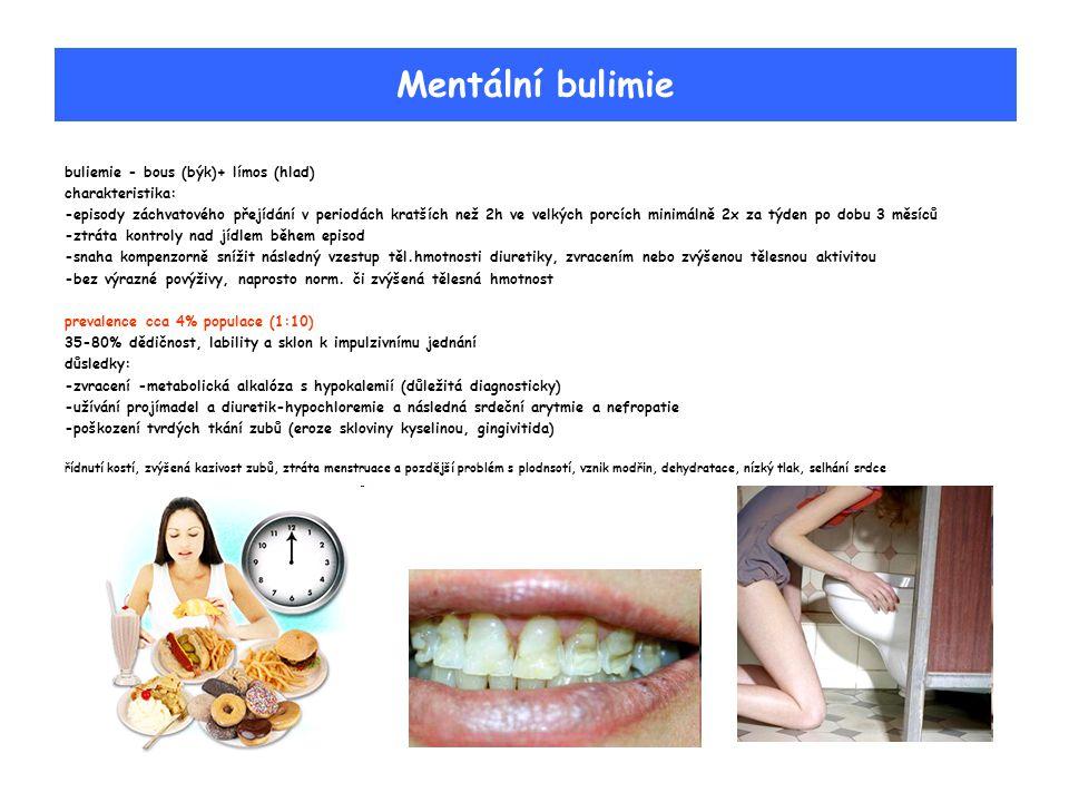 Mentální bulimie buliemie - bous (býk)+ límos (hlad) charakteristika: