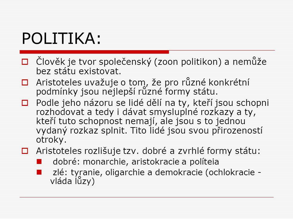 POLITIKA: Člověk je tvor společenský (zoon politikon) a nemůže bez státu existovat.