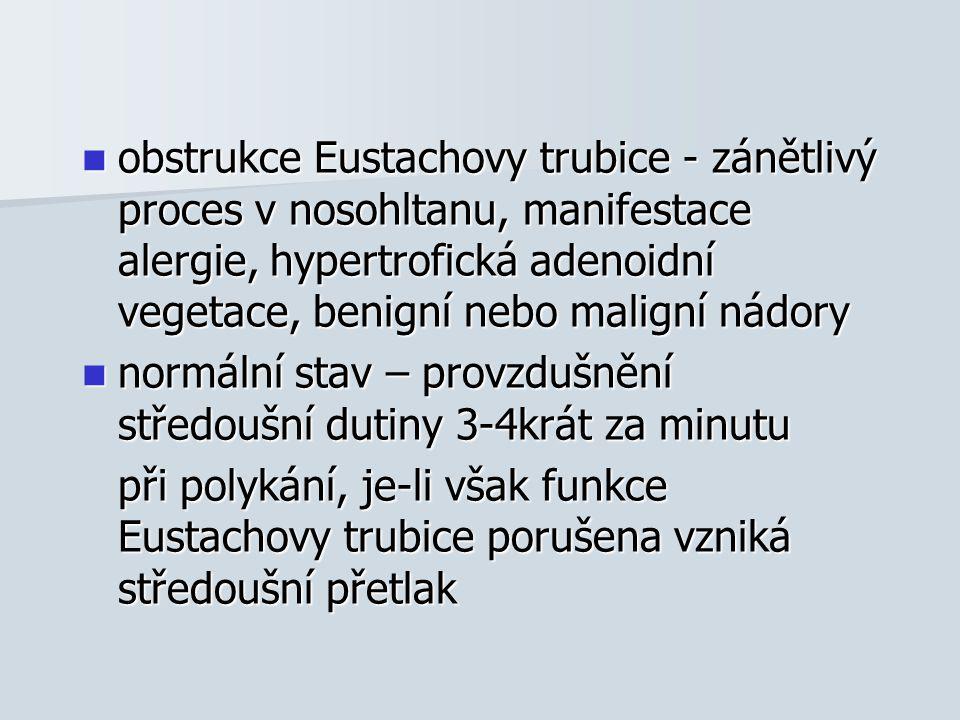 obstrukce Eustachovy trubice - zánětlivý proces v nosohltanu, manifestace alergie, hypertrofická adenoidní vegetace, benigní nebo maligní nádory