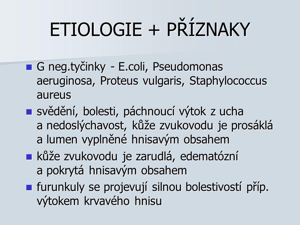 ETIOLOGIE + PŘÍZNAKY G neg.tyčinky - E.coli, Pseudomonas aeruginosa, Proteus vulgaris, Staphylococcus aureus.