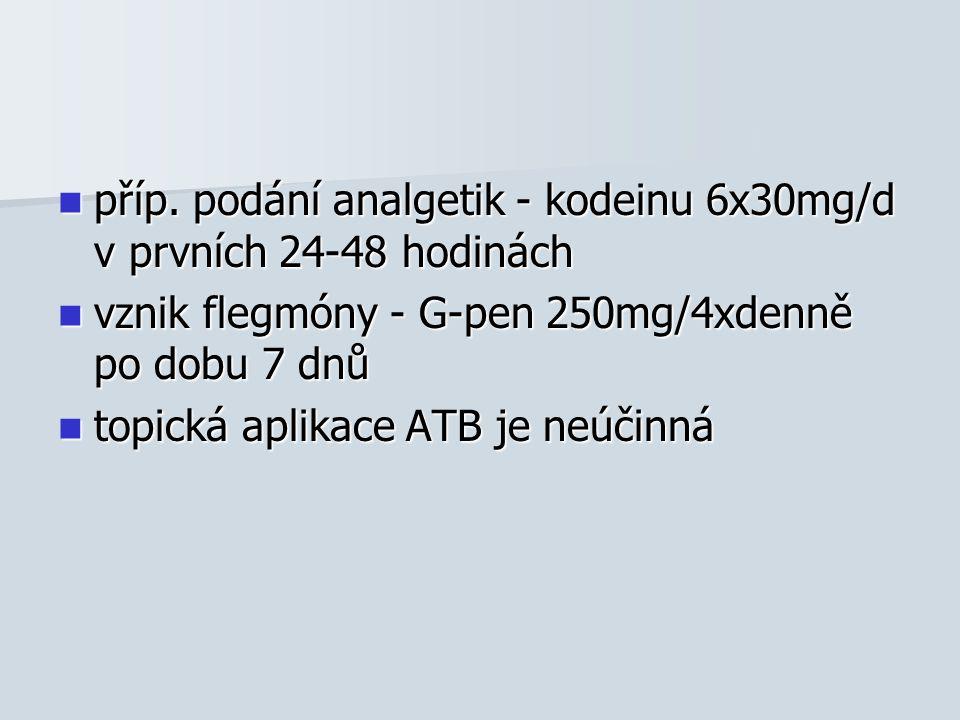 příp. podání analgetik - kodeinu 6x30mg/d v prvních 24-48 hodinách