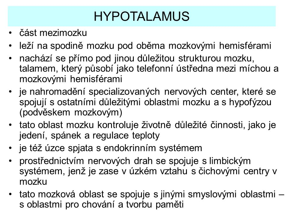 HYPOTALAMUS část mezimozku