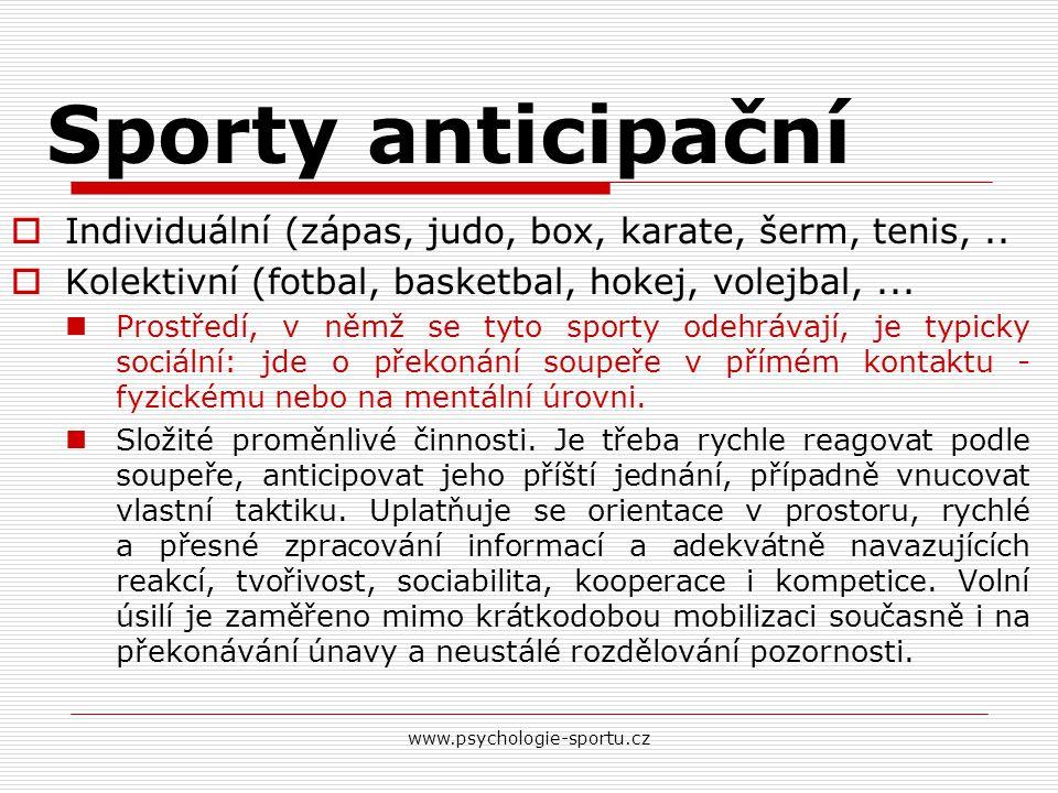 Sporty anticipační Individuální (zápas, judo, box, karate, šerm, tenis, .. Kolektivní (fotbal, basketbal, hokej, volejbal, ...