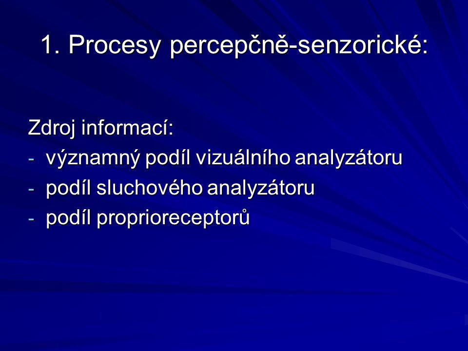 1. Procesy percepčně-senzorické: