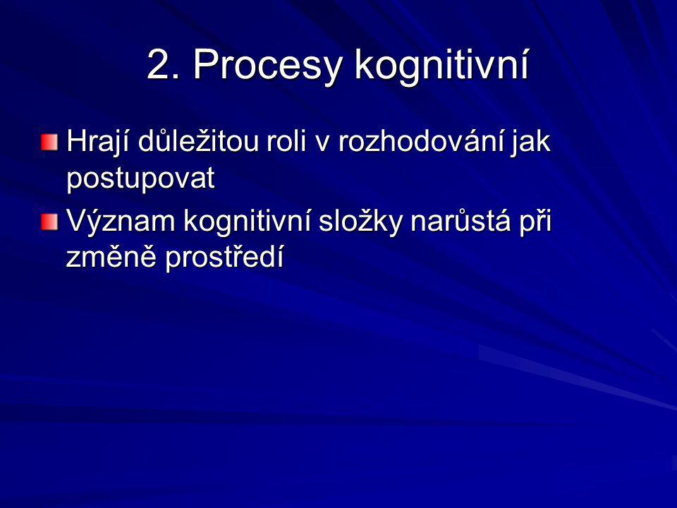 2. Procesy kognitivní Hrají důležitou roli v rozhodování jak postupovat.
