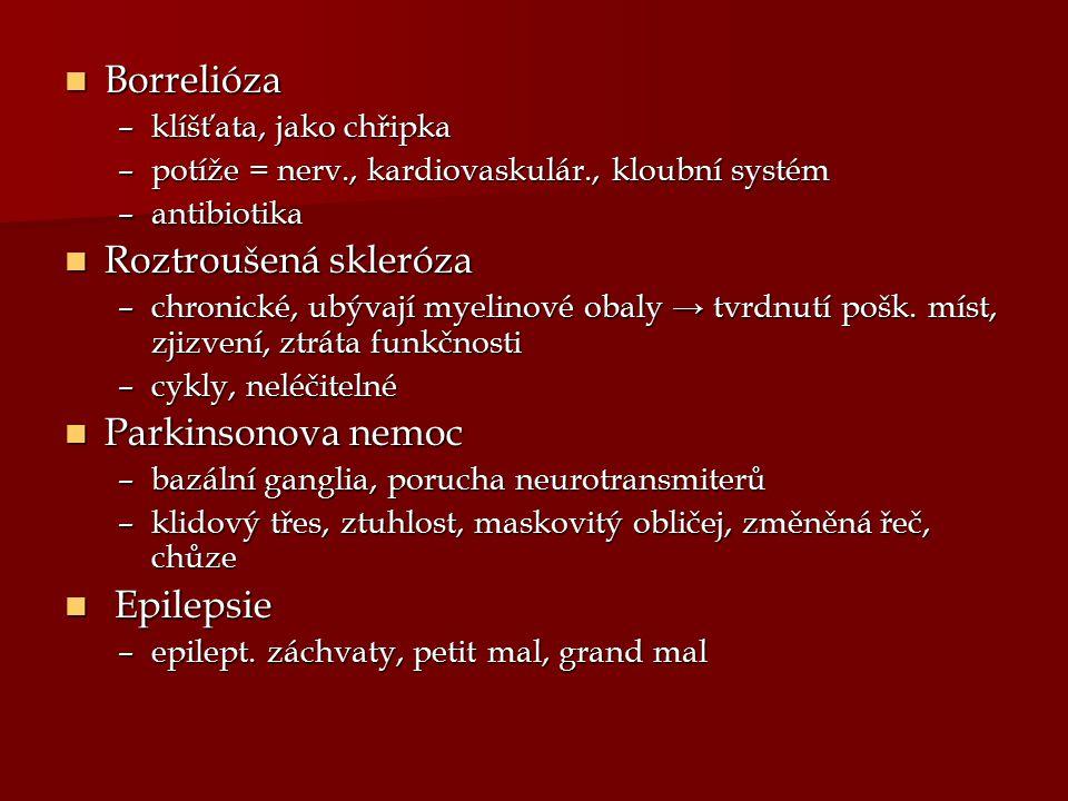 Borrelióza Roztroušená skleróza Parkinsonova nemoc Epilepsie