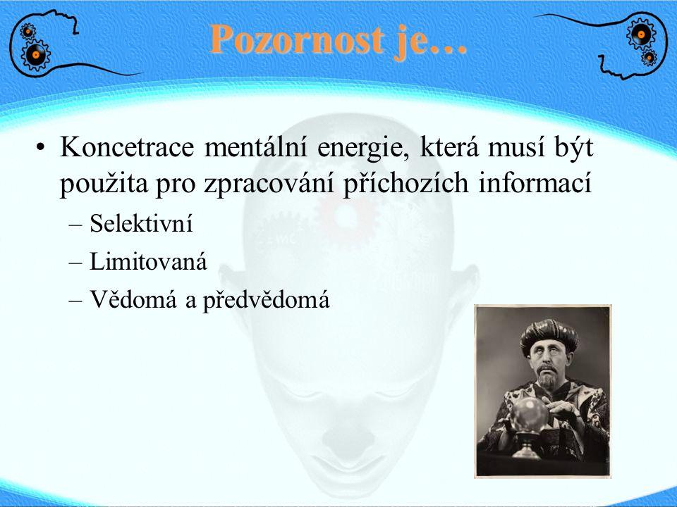 Pozornost je… Koncetrace mentální energie, která musí být použita pro zpracování příchozích informací.
