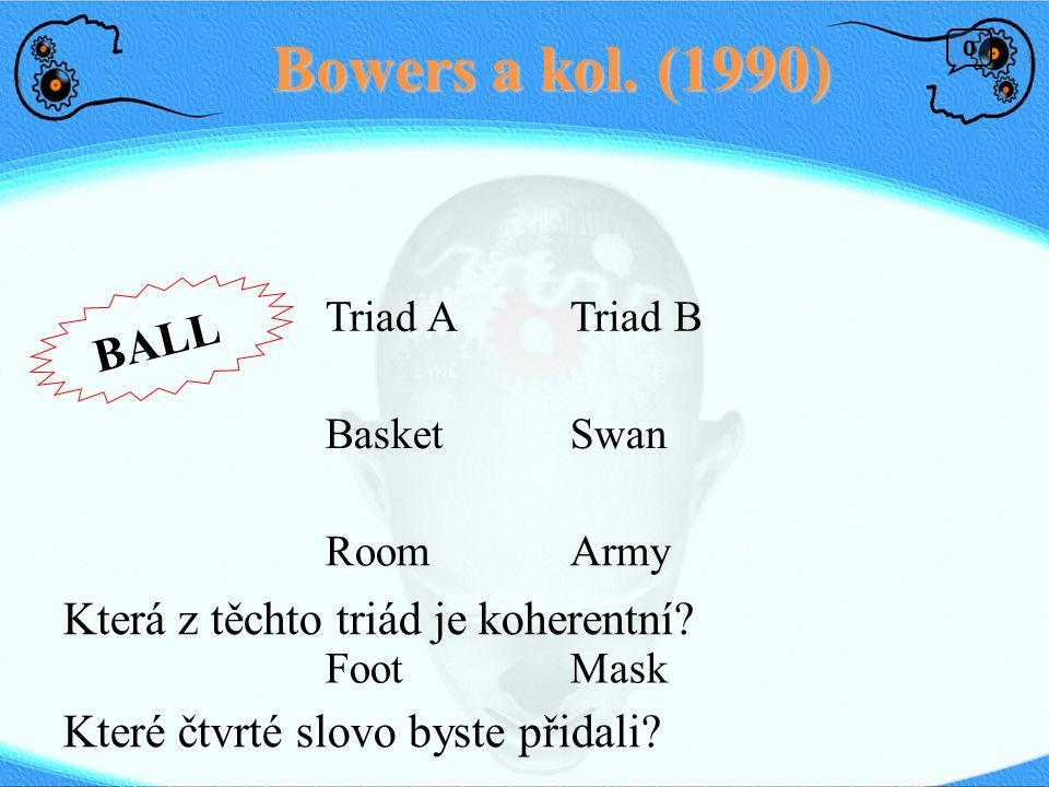 Bowers a kol. (1990) BALL Která z těchto triád je koherentní