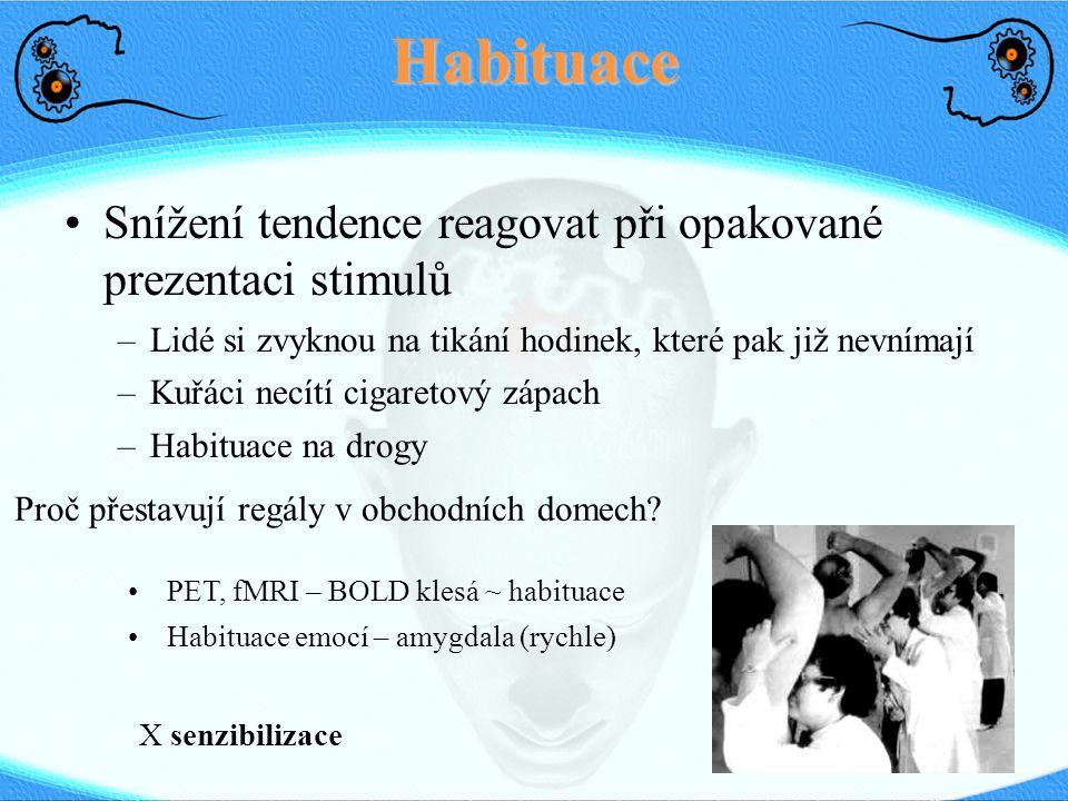 Habituace Snížení tendence reagovat při opakované prezentaci stimulů