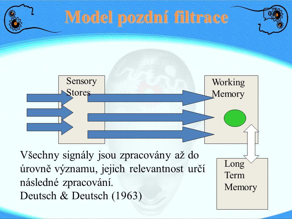 Model pozdní filtrace Sensory. Stores. Working. Memory.