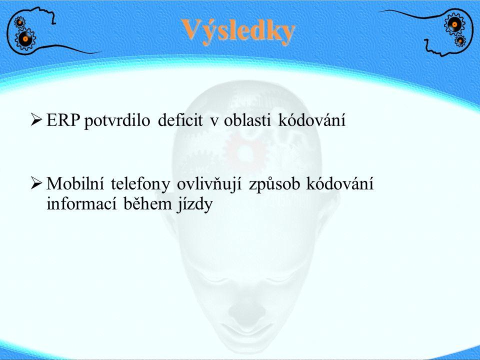 Výsledky ERP potvrdilo deficit v oblasti kódování