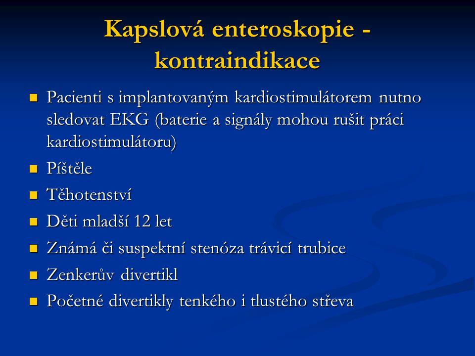 Kapslová enteroskopie - kontraindikace