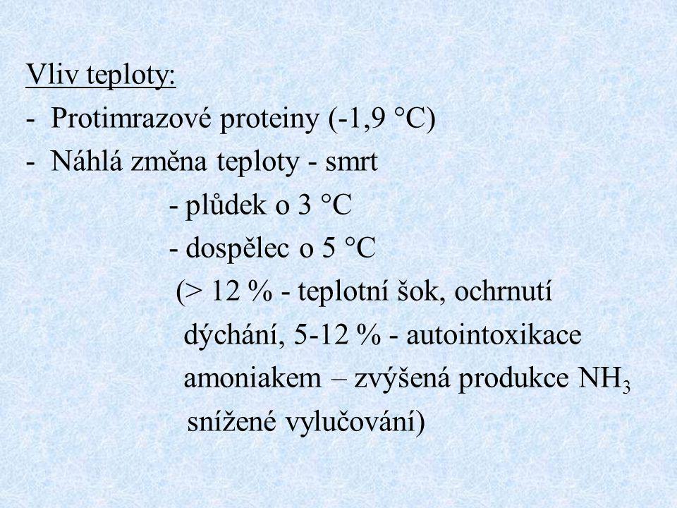 Vliv teploty: Protimrazové proteiny (-1,9 °C) Náhlá změna teploty - smrt. - plůdek o 3 °C. - dospělec o 5 °C.