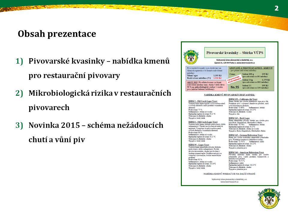 Obsah prezentace Pivovarské kvasinky – nabídka kmenů pro restaurační pivovary. Mikrobiologická rizika v restauračních pivovarech.