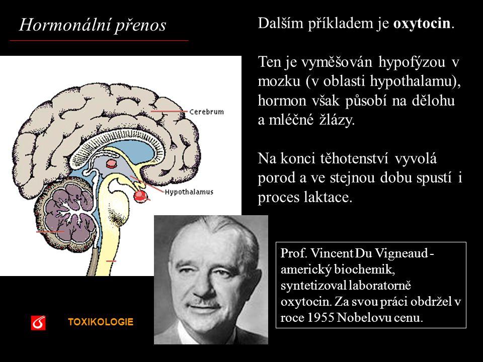 Hormonální přenos Dalším příkladem je oxytocin.
