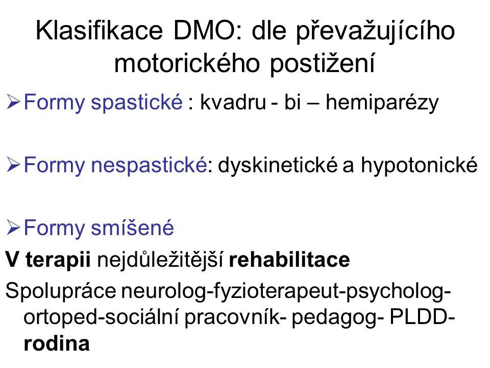 Klasifikace DMO: dle převažujícího motorického postižení