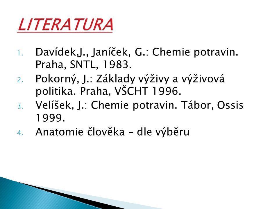 LITERATURA Davídek,J., Janíček, G.: Chemie potravin. Praha, SNTL, 1983. Pokorný, J.: Základy výživy a výživová politika. Praha, VŠCHT 1996.