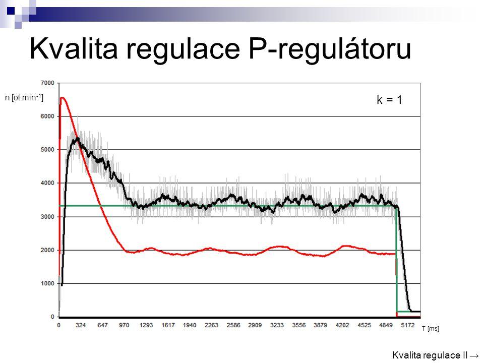 Kvalita regulace P-regulátoru