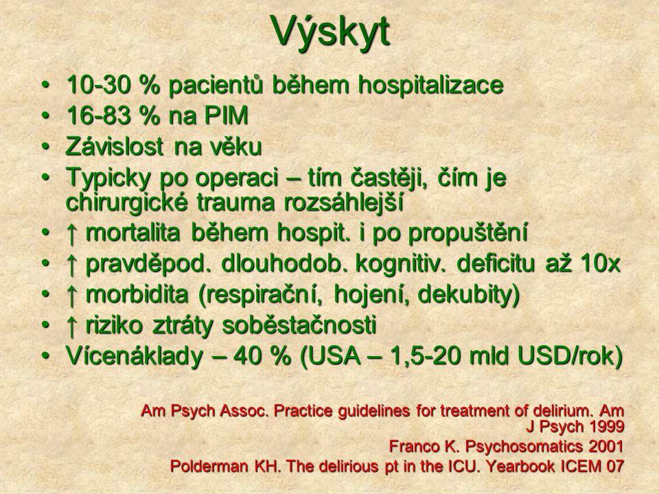 Výskyt 10-30 % pacientů během hospitalizace 16-83 % na PIM