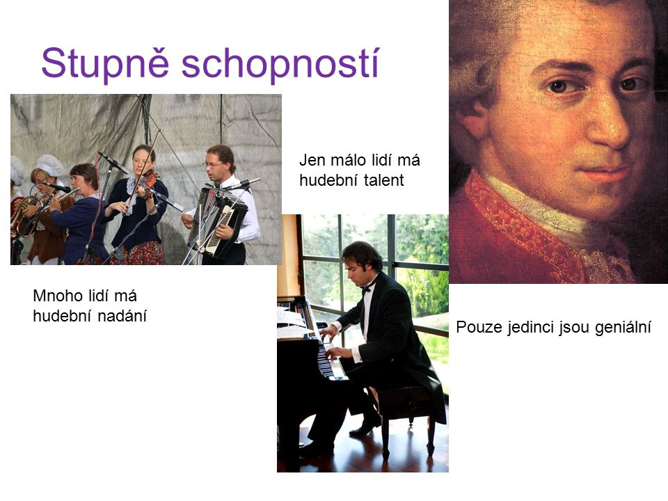 Stupně schopností Jen málo lidí má hudební talent Mnoho lidí má