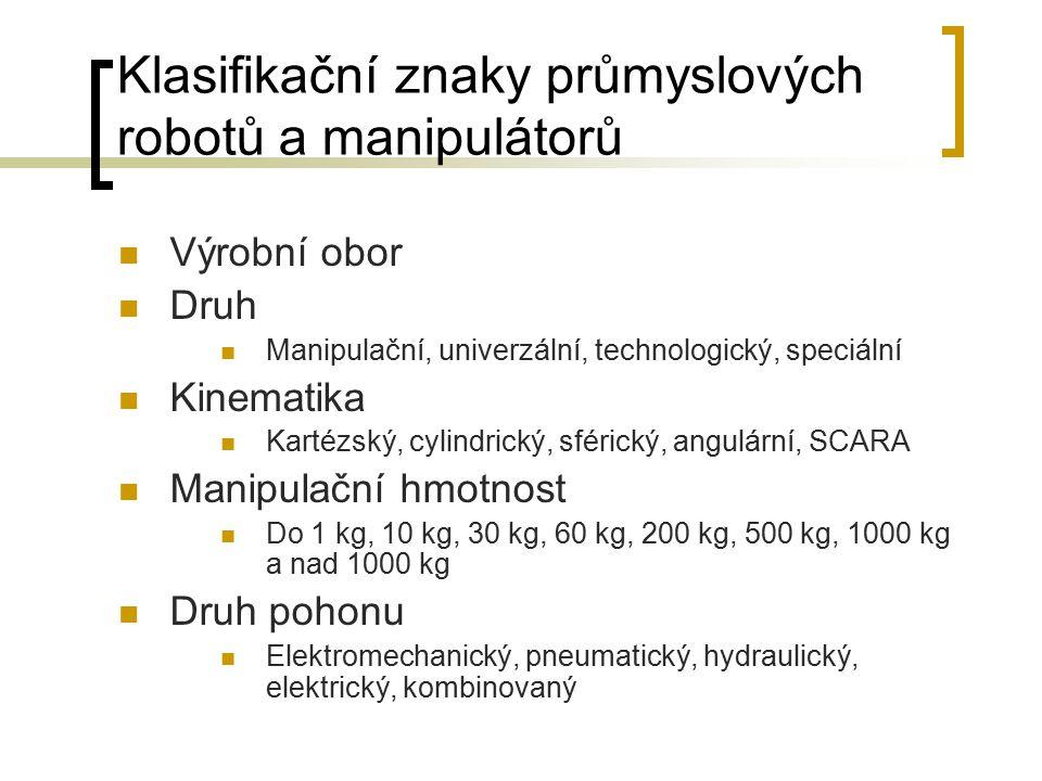 Klasifikační znaky průmyslových robotů a manipulátorů