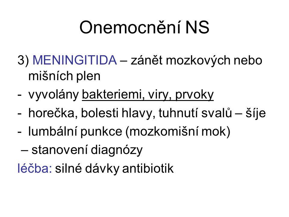 Onemocnění NS 3) MENINGITIDA – zánět mozkových nebo mišních plen