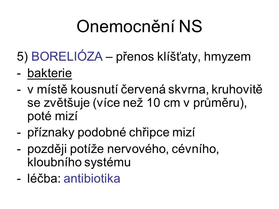 Onemocnění NS 5) BORELIÓZA – přenos klíšťaty, hmyzem bakterie
