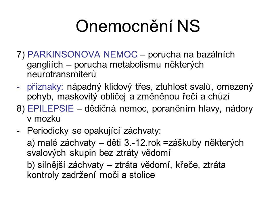 Onemocnění NS 7) PARKINSONOVA NEMOC – porucha na bazálních gangliích – porucha metabolismu některých neurotransmiterů.