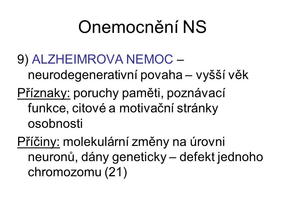 Onemocnění NS 9) ALZHEIMROVA NEMOC – neurodegenerativní povaha – vyšší věk.