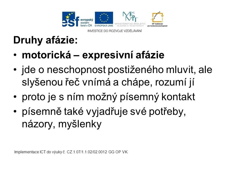 motorická – expresivní afázie