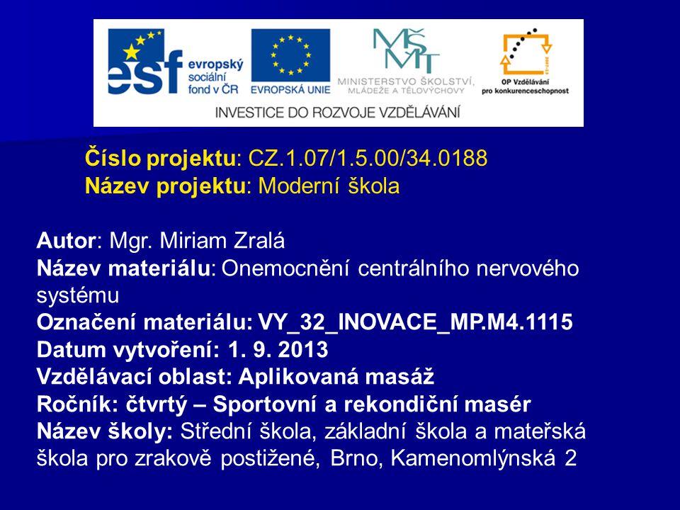 Číslo projektu: CZ.1.07/1.5.00/34.0188 Název projektu: Moderní škola. Autor: Mgr. Miriam Zralá.