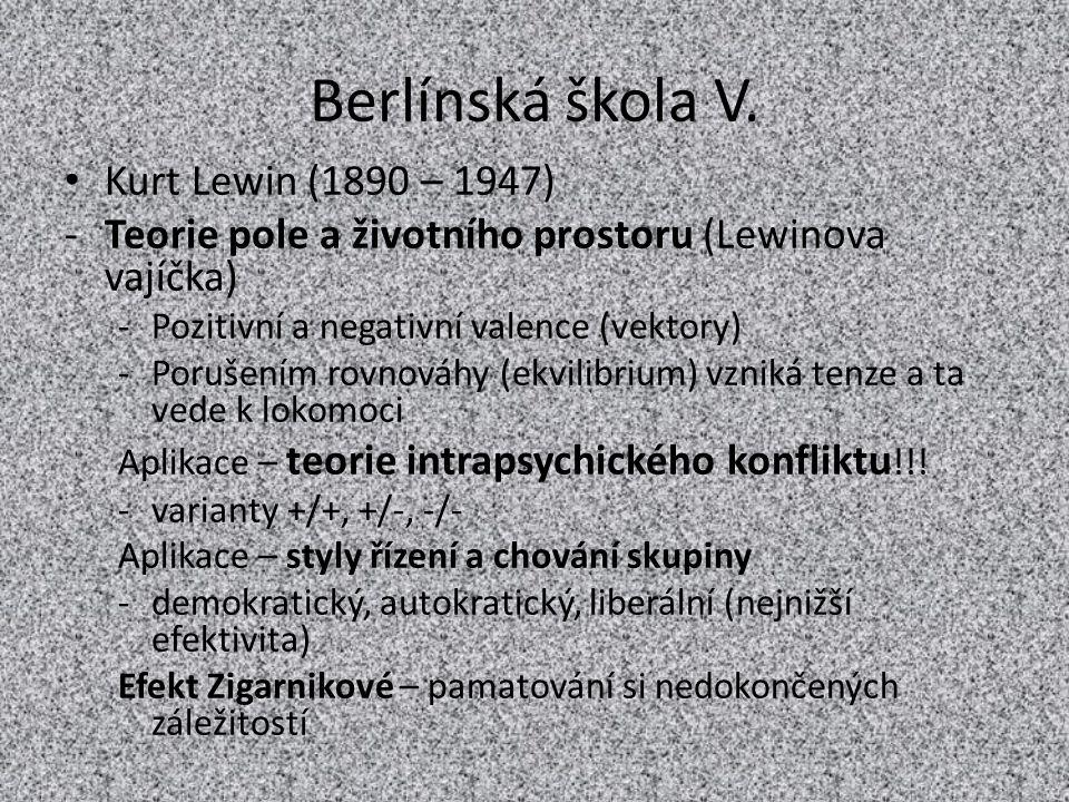 Berlínská škola V. Kurt Lewin (1890 – 1947)