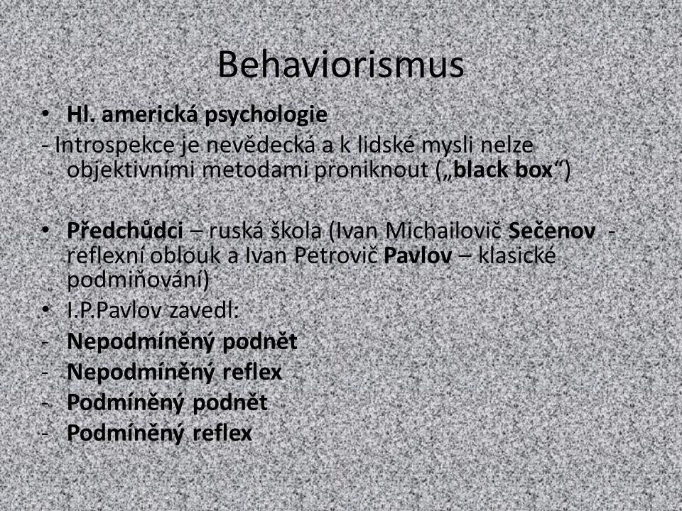 Behaviorismus Hl. americká psychologie