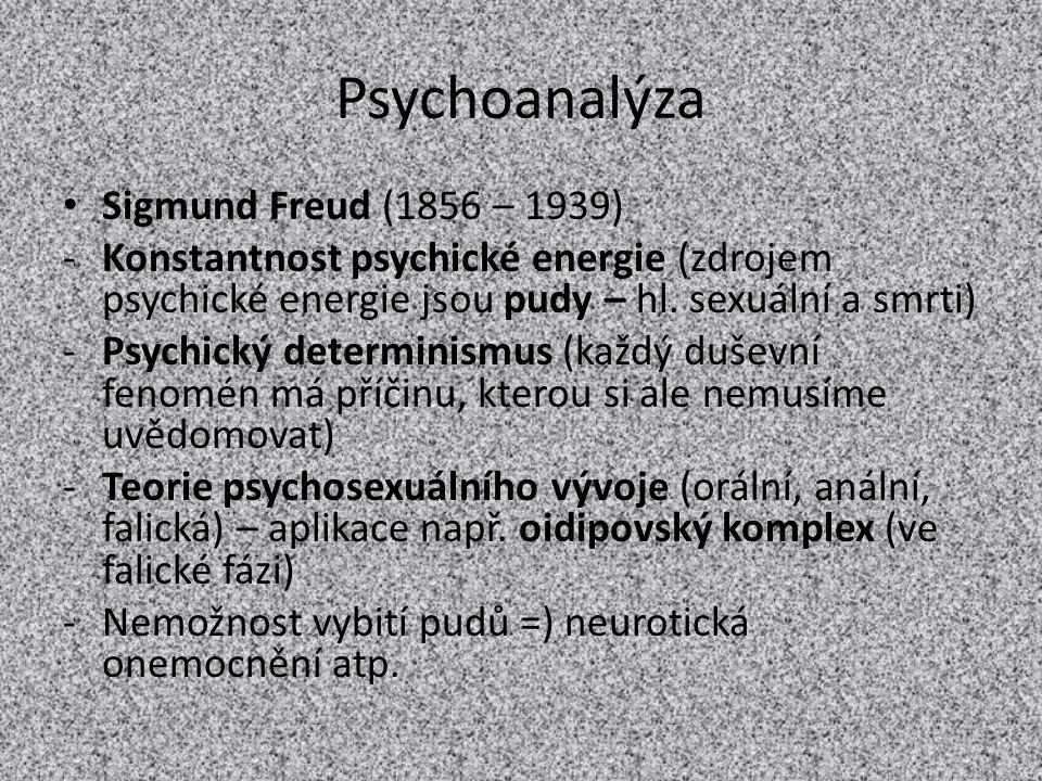 Psychoanalýza Sigmund Freud (1856 – 1939)