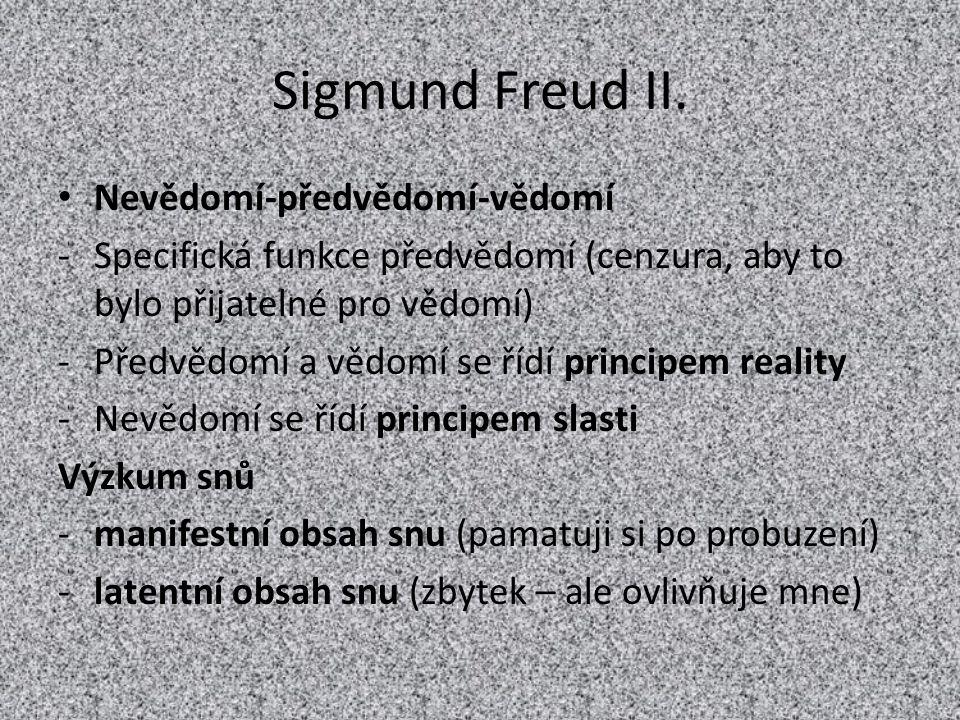 Sigmund Freud II. Nevědomí-předvědomí-vědomí