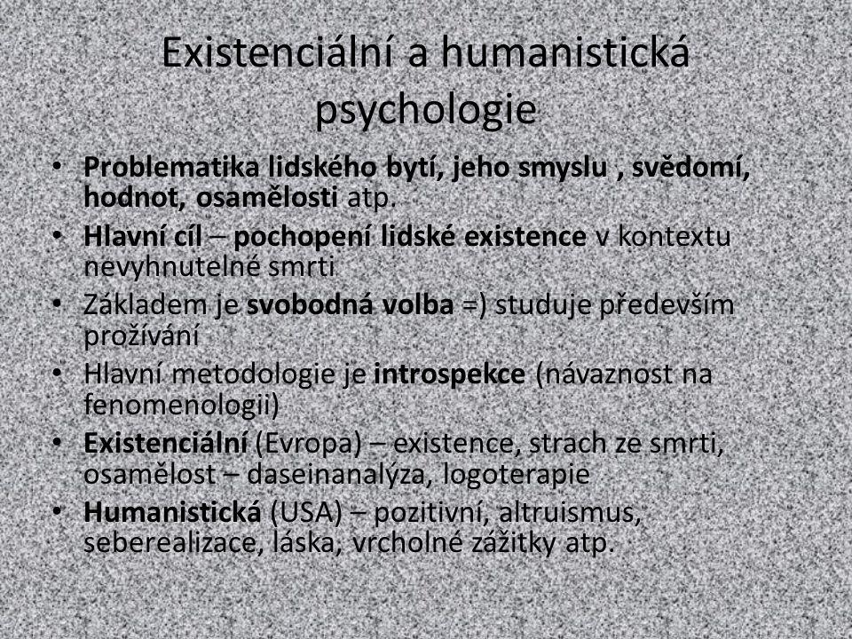 Existenciální a humanistická psychologie