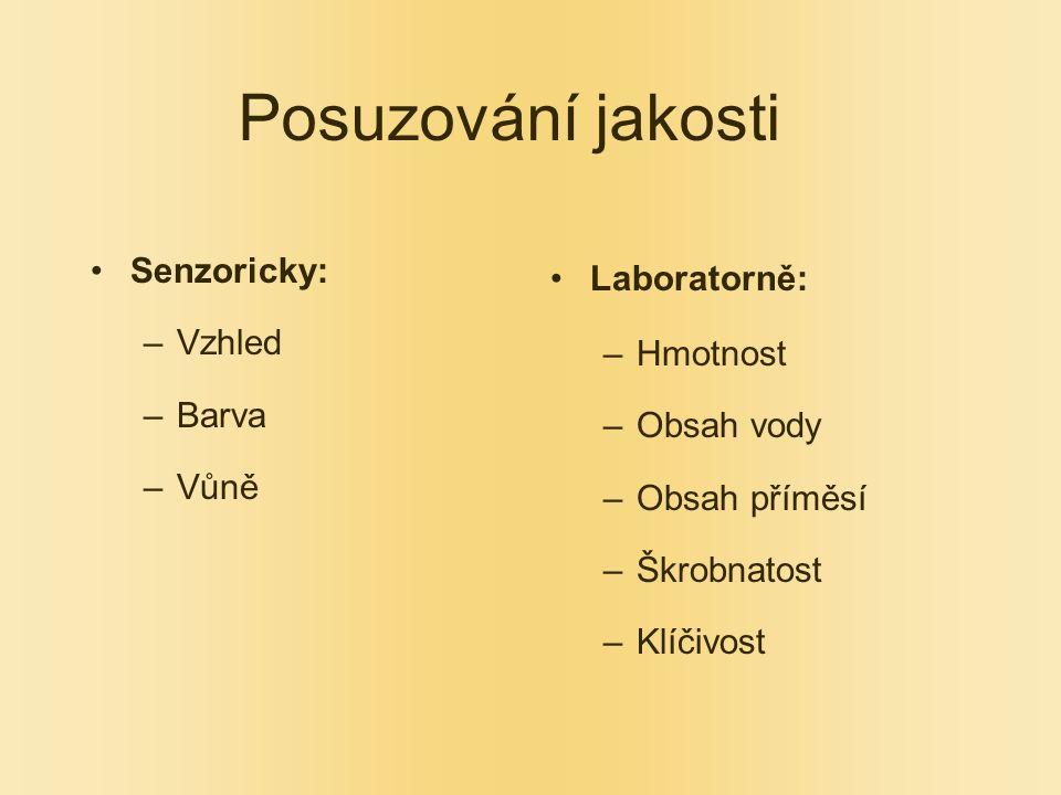 Posuzování jakosti Senzoricky: Vzhled Barva Vůně Laboratorně: Hmotnost