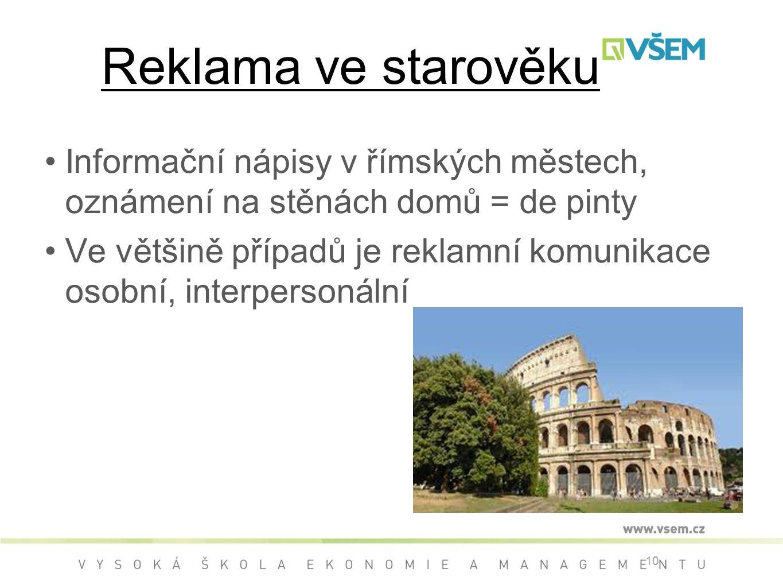 Reklama ve starověku Informační nápisy v římských městech, oznámení na stěnách domů = de pinty.